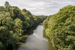 Scenic view of Wear River in Durham, United Kingdom. Looking down the River Wear in Durham, United Kingdom royalty free stock image