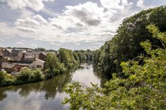 Scenic view of Wear River in Durham, United Kingdom. Looking down the River Wear in Durham, United Kingdom royalty free stock photos