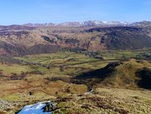 Looking down on Rosthwaite, Lake District, England Stock Image