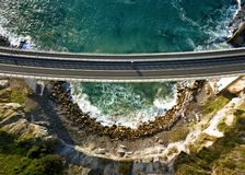 Looking down on Sea Cliff Bridge stock images