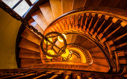 Looking down a spiral staircase in the Handley Library, Winchest Royalty Free Stock Images