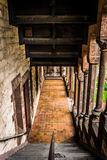 Looking down the stairs of an old cathedral in Boston, Massachus Royalty Free Stock Photos