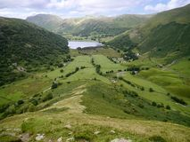 Looking down the steep High Hartsop Dodd, Lake District Stock Image