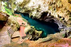 Looking down at a Subterranean lake inside a cave Royalty Free Stock Photography