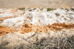 Looking down to beautiful cliffs and sand on Falesia Beach in Al. Looking down to beautiful cliffs along Falesia Beach in Albufeira, Algarve, Portugal Stock Image