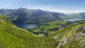 Looking down to Buttermere, Lake District. Widescreen of Buttermere and Crummock Water, right royalty free stock photography