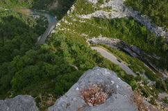 Looking down to canyon Verdon from an overlook Stock Images