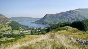 Looking down to Glenridding by Ullswater, widescreen Royalty Free Stock Photos