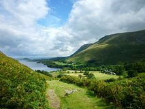 Looking down to Howtown by Ullswater Royalty Free Stock Photos