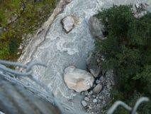Looking down to Kali Gandaki river from suspension bridge Stock Photos