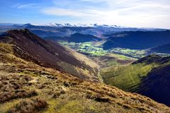 Looking down to Little Town. Early Spring on the Derwent Fells Stock Image