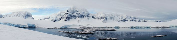 Looking down to Port Lockroy on Wiencke Island in Antarctica. Royalty Free Stock Photography