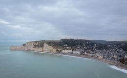 Looking Down To The Town Of Etretat Royalty Free Stock Images