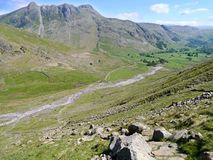 Looking down to valley and across to the Langdale Pikes, Lake District Stock Photography