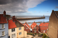 Looking down to Whitby Harbour Stock Photo