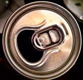 Looking down at the top of a soft drink can. Stock Image