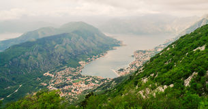 Looking down on the town of Kotor, Montenegro. Looking down on the Bay of Kotor and surrounding hills, in Montenegro Royalty Free Stock Images