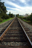 Looking down the track. Looking down the railway track to see if something is coming Stock Photo