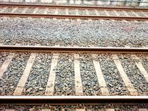 Looking down the train tracks. Stock Photos