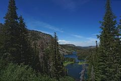 View of lakes while looking down from mountain top stock images