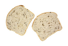 Seeded Rye Bread  Two Slices. Looking down at two slices of seeded rye bread Royalty Free Stock Images