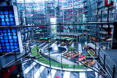 Looking down from the upper floors of the Sony Center is located near the Berlin Potsdamer Platz railway station. Sony Center contains a mix of shops Royalty Free Stock Photos