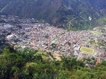 VIEW OF BANOS FROM ABOVE, ECUADOR. Looking down into the valley from high above you can see the city of Banos Stock Photography