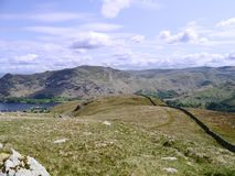 Looking down wall to Patterdale area, Lake District Stock Photo