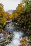 Looking Down on Waterfall in Fall Stock Photo