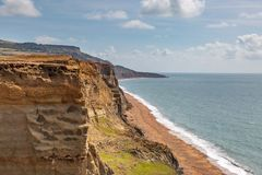 Whale Chine. Looking down on Whale Chine Beach on the Isle of Wight, from a coastal path royalty free stock photography