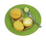 Corn Muffins Split Whole Butter Knife Stock Photo