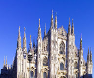 looking Duomo di Milano meaning Milan Cathedral in Italy, with b Stock Photography