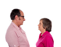 Looking into each others eyes. Aged love couple Royalty Free Stock Photo