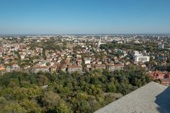 Looking east from Bunardzhika hill over Plovdiv, Bulgaria stock photography