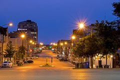 Night Image Of McDonnell Street In Guelph, Ontario, Canada. Looking east down McDonnell Street in Guelph, Ontario, Canada in the twilight before sunrise stock photography