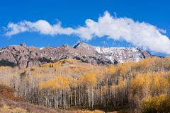Looking east at the Mount Sneffels Range within the Uncompahgre National Forest, Colorado. The Sneffels Mountain Range in early Autumn viewed from the Last royalty free stock images
