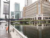 Looking East toward footbridge to West India Quay, Docklands, Lo Royalty Free Stock Photos