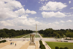 Looking eastwards across the National Mall in Washington DC from the Lincoln Memorial Royalty Free Stock Photo