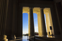 Looking eastwards from the Central Chamber of the Lincoln Memorial out onto the National Mall, Washington DC Royalty Free Stock Photo