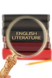 Looking in on education -  English Literature. Magnifying glass or loop looking on an educational subject -   English Literature Stock Image