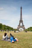 Looking at Eiffel Royalty Free Stock Photography