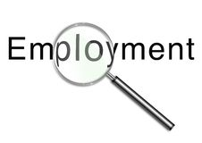 Looking for employment. Illustration of a Magnifying glass over the word employment Royalty Free Stock Photography