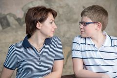 Looking into the eyes. Warm regards mom and son Royalty Free Stock Photography