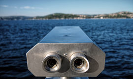 Looking far away with binocular. From Europe to Asian side stock photo