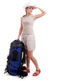 Looking about female tourist with backpack Royalty Free Stock Image