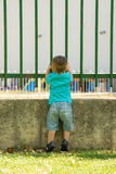 Looking through the fence. Boy looking through a fence, seen from behind royalty free stock photography