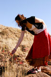 Looking at flowers. Woman looking at flowers in nature Stock Photo