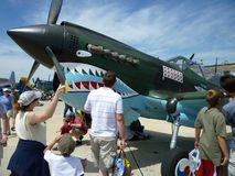 Looking at the Flying Tigers P40 royalty free stock images