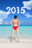 Looking forward to new year 2015 concept Stock Photography