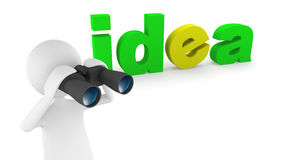 Looking for fresh ideas. Idea concept, depicting 3D man looking for ideas and inspiration with binoculars Royalty Free Stock Image
